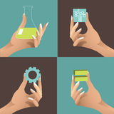 Female hands holding STEM icons EPS 10 vector Stock Images