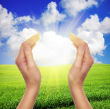 Female hands holding sun Royalty Free Stock Images