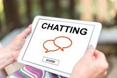 Chatting concept on a tablet royalty free stock photo