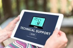 Technical support concept on a tablet. Female hands holding a tablet with technical support concept Royalty Free Stock Photos