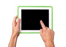 Female hands holding a tablet Royalty Free Stock Image