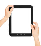 Female hands holding a tablet touch Royalty Free Stock Images