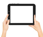 Female hands holding a tablet touch Stock Photography