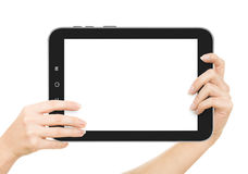 Female hands holding a tablet touch computer gadget with Stock Photography