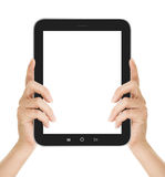 Female hands holding a tablet touch computer gadget Stock Image