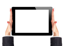 Female hands holding a tablet touch computer gadget Stock Photography