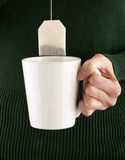 Female hands holding a teacup and teabag Stock Photo