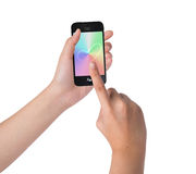 Female hands holding and touching on smart phone Royalty Free Stock Image