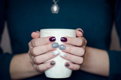 Female hands holding a white mug Royalty Free Stock Photos