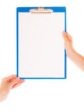 Female hands holds clipboard with empty blank sign Stock Photo
