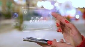 Female hands interact HUD hologram Become partner