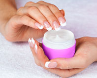 Female hands with jar of cream Stock Photography