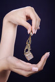 Female hands with jewelry Royalty Free Stock Image