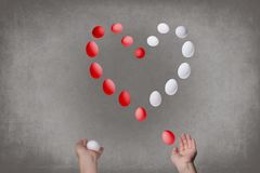 Female hands juggle eggs in the form of Valentine`s heart . Food  concept. Female hands juggle eggs in the form of Valentine`s heart . Food and relations Royalty Free Stock Images