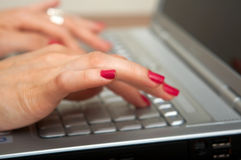 Female Hands on Keyboard. Busy business woman doing some computer work Stock Photography