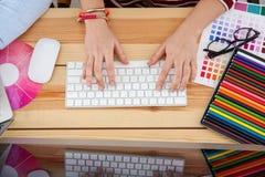 Female hands on keyboard. Closeup stock photos