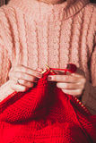 Female hands knits sweater Stock Photos
