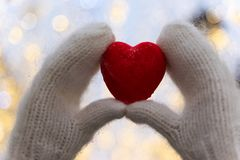 Female hands in knitted white mittens with heart of snow in winter day. royalty free stock photo
