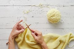 Woman hands knitting with needles and yarn Stock Image