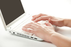 Female hands on a laptop keyboard Stock Images