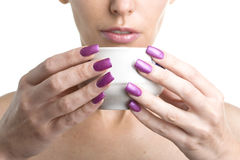 Female hands with long nails with manicure hold Royalty Free Stock Image