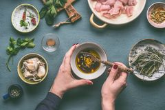 Female hands making marinate for chicken meat meal on kitchen table background with ingredients in bowls , top view. Dieting cooki. Ng eating and healthy food Stock Photos