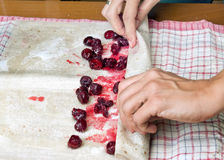 Female hands making small pies with cherry Royalty Free Stock Photos