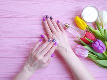 Female hands manicure, above treatment elegant cosmetic cream, tulip flower on wooden background royalty free stock image