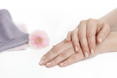 Female hands after manicure Stock Photo