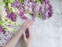 Female hands manicure product, natural therapy wellness healthy cosmetic beautiful cream, lilac flower on gray concrete background. Female hands manicure royalty free stock photo