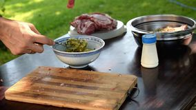 Female hands marinating meat for barbecue. Close up stock video footage