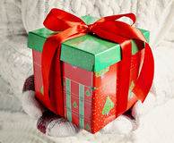 Female hands in mittens holding red gift box green Stock Images