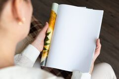 Free Female Hands Open Blank Catalog, Magazines, Book Mock Up Stock Images - 216803084