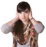 Female with Hands Over Ears Stock Images
