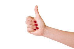Female hands over white background Stock Photos