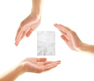 Female hands with paper Royalty Free Stock Photography