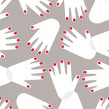 Female hands pattern. Female hands with red nails seamless pattern background Stock Image