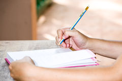 Female hands with pen writing Stock Image