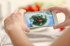 Female hands photographing food with phone. Female hands photographing food with mobile phone Stock Images