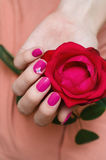 Female hands with pink nail art. Stock Image