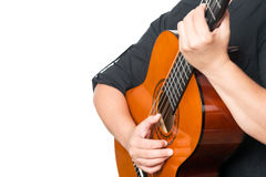 Female hands playing an acoustic guitar Stock Image