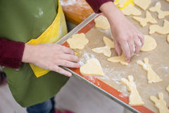 Female hands poured with flour put cookies from raw short pastry Stock Images