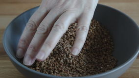 Female hands pours buckwheat grain stock video