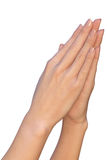 Female hands in a prayer gesture Royalty Free Stock Photo