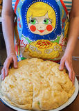 Female hands preparing dough for an Easter cake with spices, lem Royalty Free Stock Photography
