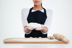 Female hands preparing dough for pastry Royalty Free Stock Photo