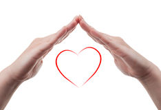 Female hands protecting a heart shape on white background. Beautiful female hands protecting a red heart shape isolated on white background. Love protection royalty free stock images