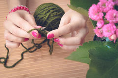 Female hands with purple manicure are knitted metal spokes of a. Wooden table. On the table is a flower pot and a green ball of wool yarn Royalty Free Stock Photo