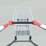 Female hands pushing empty shopping cart. Stock Photography