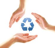 Female hands with recycle shape from water Royalty Free Stock Photography